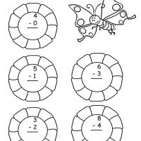 Printable Grade 1 Math- Flower Themed Subtraction - Free Printable Math Worksheets - Free Printable Worksheets