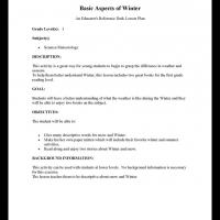 Printable Grade 1 Science: Basic Aspects of Winter - Printable Lesson Plans - Free Printable Worksheets