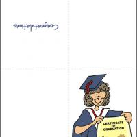 Printable Graduate In Blue Gown with Certificate - Printable Graduation Cards - Free Printable Cards