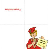 Printable Graduate In Red Gown With Certificate - Printable Graduation Cards - Free Printable Cards