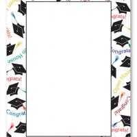 Printable Graduation Hat Border Blank Card Invitation - Printable Graduation Invitations - Free Printable Invitations