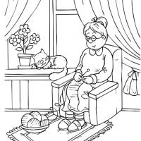 Grandma Knitting Coloring Sheet