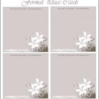 Printable Gray With Flower Swirls - Printable Place Cards - Free Printable Cards