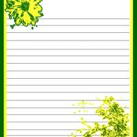 Printable Green and Yellow Floral Stationary - Printable Stationary - Free Printable Activities