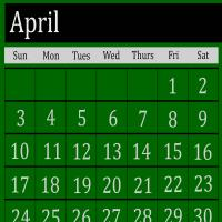 Green April 2011 Calendar