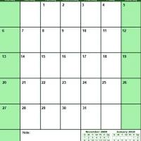 Printable Green December 2009 Calendar - Printable Monthly Calendars - Free Printable Calendars