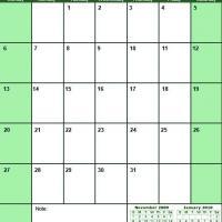 Green December 2009 Calendar
