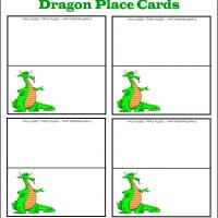 Printable Green Dragon Place Card - Printable Place Cards - Free Printable Cards