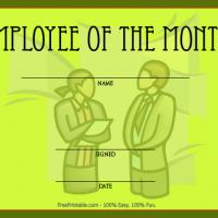 Printable Green Employee Of The Month Award - Printable Awards - Misc Printables