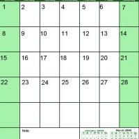 Printable Green February 2009 Calendar - Printable Monthly Calendars - Free Printable Calendars
