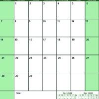 Printable Green June 2009 Calendar - Printable Monthly Calendars - Free Printable Calendars