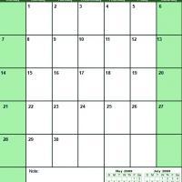 Green June 2009 Calendar