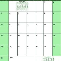 Printable Green May 2009 Calendar - Printable Monthly Calendars - Free Printable Calendars