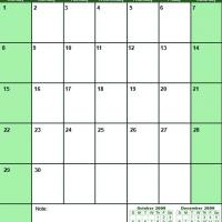 Printable Green November 2009 Calendar - Printable Monthly Calendars - Free Printable Calendars