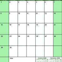 Green November 2009 Calendar