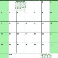 Printable Green October 2009 Calendar - Printable Monthly Calendars - Free Printable Calendars