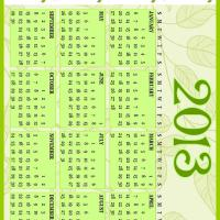 Printable Green Vines 2013 Calendar - Printable Yearly Calendar - Free Printable Calendars