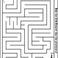 Printable Grim Reaper Going to the Graveyard - Printable Mazes - Free Printable Games