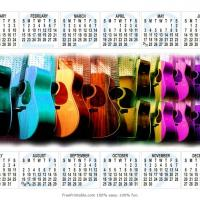 Printable Groovy Guitars Calendar - Printable Calendar Pages - Free Printable Calendars