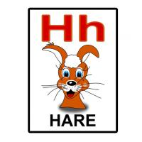 Printable H is for Hare Flash Card - Printable Flash Cards - Free Printable Lessons