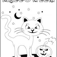 Printable Halloween Cat and Pumpkin - Printable Coloring Sheets - Free Printable Coloring Pages