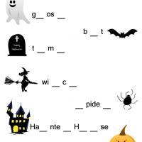 Halloween Complete the Word Worksheet