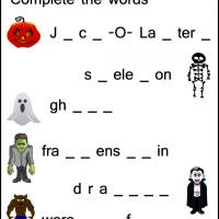Printable Halloween Complete the Words Worksheets - Printable Kindergarten Worksheets and Lessons - Free Printable Worksheets