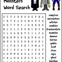 Halloween Monsters Word Search