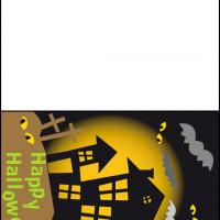 Printable Halloween Night with Haunted House - Printable Greeting Cards - Free Printable Cards