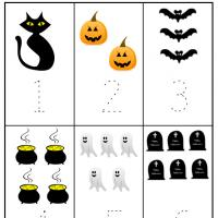 Halloween Preschool Number 1 to 6 Worksheet