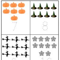 Halloween Preschool Number 7 to 10 Worksheet