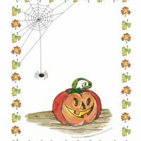 Printable Halloween Spider Web and Pumpkin - Printable Photos - Free Printable Pictures