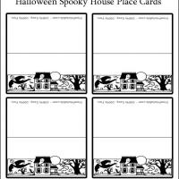 Printable Halloween Spooky House Place Cards - Printable Place Cards - Free Printable Cards