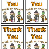 Printable Halloween Trick or Treat Thank You Card - Printable Thank You Cards - Free Printable Cards
