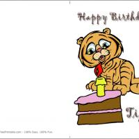 Printable Happy Brthday Tiger - Printable Birthday Cards - Free Printable Cards