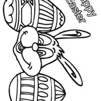 Happy Easter Bunny with Easter Eggs Coloring Sheet