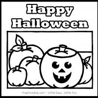 Printable Happy Halloween Black and White - Printable Coloring Sheets - Free Printable Coloring Pages