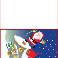 Printable Happy Santa on Top of a House - Printable Christmas Cards - Free Printable Cards