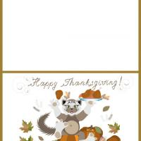 Printable Happy Thanksgiving Cat Greeting Cards - Printable Greeting Cards - Free Printable Cards