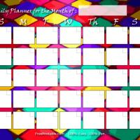 Harlequin Themed Blank Monthly Calendar
