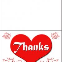 Printable Heart Thanks - Printable Thank You Cards - Free Printable Cards