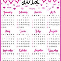 Printable Hearts and Love 2012 Calendar - Printable Yearly Calendar - Free Printable Calendars