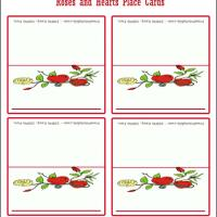 Printable Hearts And Roses Place Cards - Printable Place Cards - Free Printable Cards