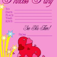 Printable Hearts and Star Pink Princess Party Invitation - Printable Birthday Invitation Cards - Free Printable Invitations