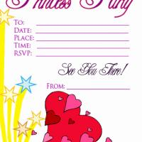 Hearts and Star Princess Party Invitation