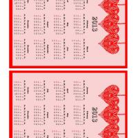 Printable Hearts Mini 2013 Calendar - Printable Yearly Calendar - Free Printable Calendars