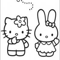Printable Hello Kitty and Friend Playing - Printable Hello Kitty - Free Printable Coloring Pages