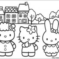 Printable Hello Kitty and Friends in the Neighborhood - Printable Hello Kitty - Free Printable Coloring Pages