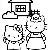 Printable Hello Kitty and Mom - Printable Hello Kitty - Free Printable Coloring Pages