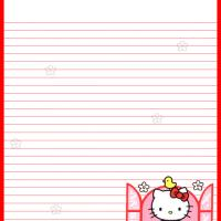 Printable Hello Kitty by the Window - Printable Stationary - Free Printable Activities